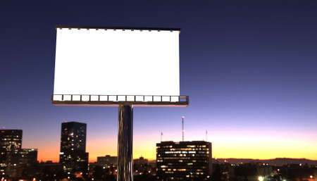 illustration of billboard in twilight with night city illustration