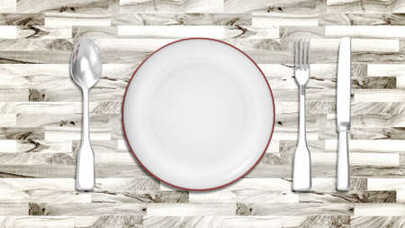 illustration of Dinner plate with cutlery spoon and fork on wood texture illustration
