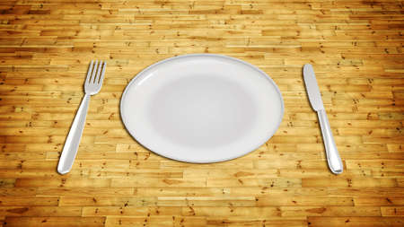 illustration of Dinner plate with cutlery knife and fork on wood texture illustration
