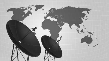 illustration of satellite dish for telecommunication background Stock Photo