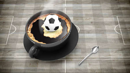 illustration of coffee cup with soccer ball on wood texture illustration