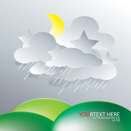 illustration vector of paper rainy cloud  background Vector