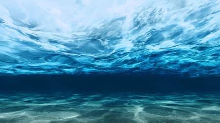 fondali marini: Profonda di mare con la sabbia di superficie in acqua sotto