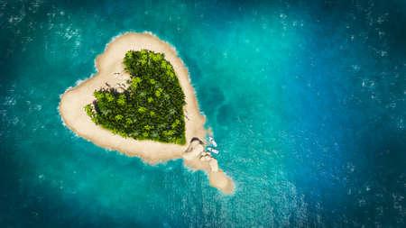 illustration landscape of  heart island in the ocean