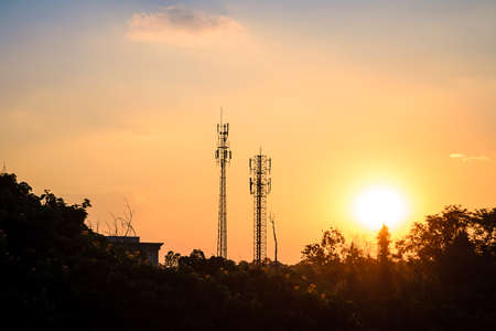 sunset sky and cloud with silhouette antenna
