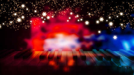 piano keys on bokeh colorful light with night star in new year day photo