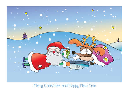 Santa and reindeer are fishing on snow in Merry Christmas and happy new year
