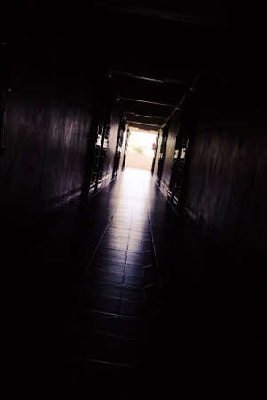 Corridor in the building with darkness color tone
