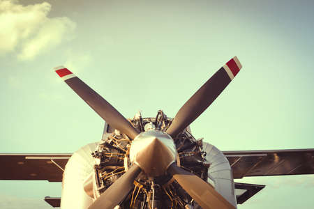 Retro Airplane with engine and Propeller