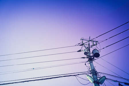 electric pole with blue sky