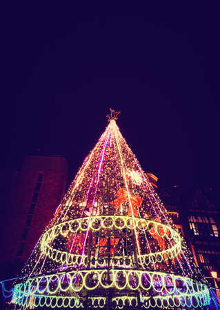 Decoration of Christmas tree light in Christmas day