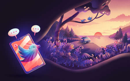 illustration of social media to nature landscape with modern colorful style for Landing page web design