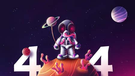 illustration of astronaut in space for 404 website error design
