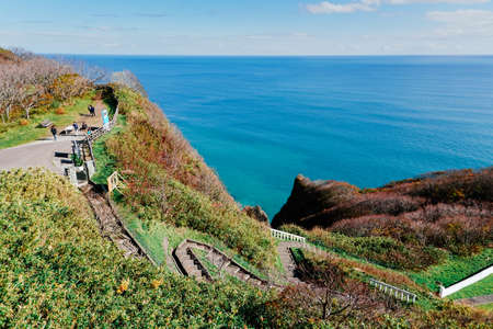 Sightseeing and ocean with blue sky at cape Chikyu Hokkaido Japan