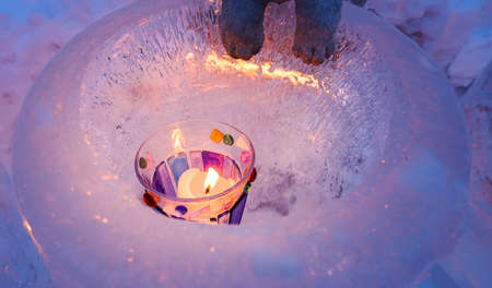 Night time with Candle light in ice and snow on Christmas day
