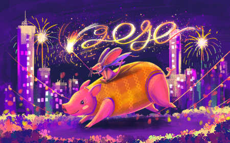 illustration of rat and pig for Chinese day and happy new year