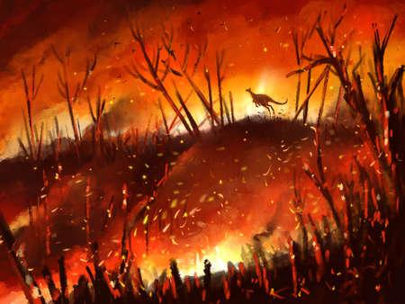 illustration kangaroo run away from wildfire part of  global warming