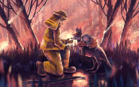 illustration of Firefighter volunteer helping kangaroo and koala bear from wildfire Stock Photo