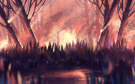 illustration wildfire for global warming
