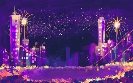 illustration Building and fireworks for Happy new year Stock Photo