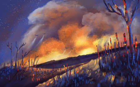 illustration wildfire in night time part of global warming Stock Photo