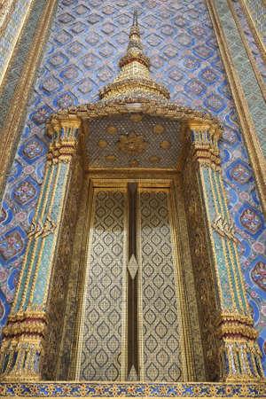 Beautiful Thai style temple church entry door