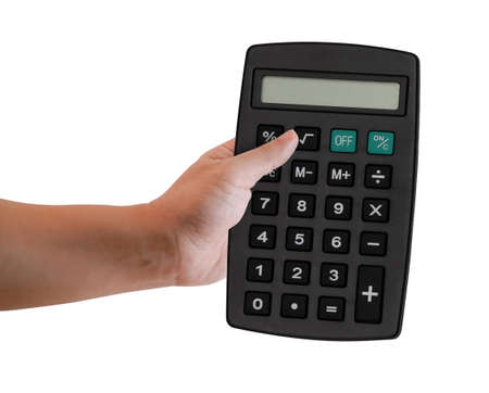 Hand of a man holding a black calculator with blank screen. Isolated on white background. Clipping Path Included Reklamní fotografie