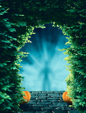 Tree arch gate over pumpkins and stone path with fog and smoke and shadow of a man standing in front of the gate.
