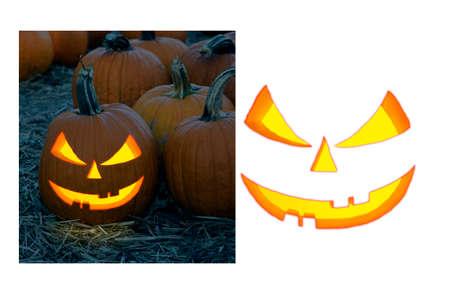 Isolated on white background of Illustration of halloween pumpkin Jack o Lantern face with sample image. Reklamní fotografie