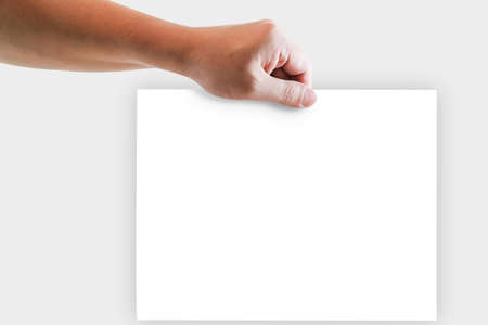 Left hand of a man holding blank whie office paper.