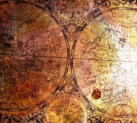 decoupage: Old map on rusty metal