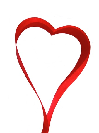 duo: Heart of red silky ribbon Stock Photo