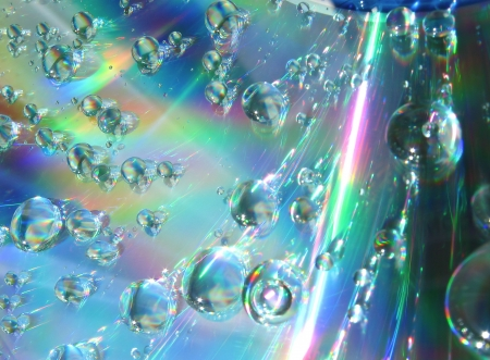 Drops of water on the compact disk photo