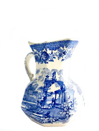 White old English  jar with blue picture photo