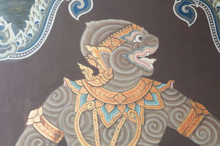 monkey art on wall at emerald temple photo