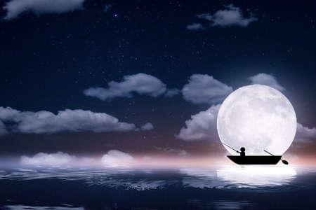 Fisherman in the boat Full moon night