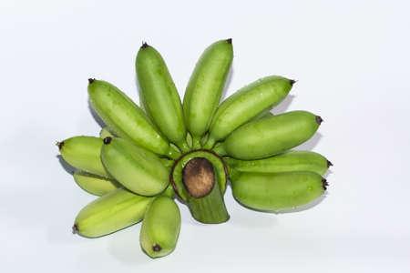 Green banana, white background