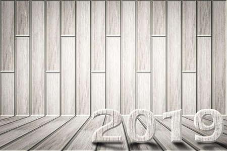 White wood floor background 2019