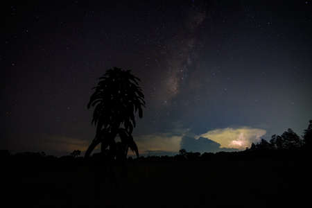 Milkyway and Lightning Sky at night
