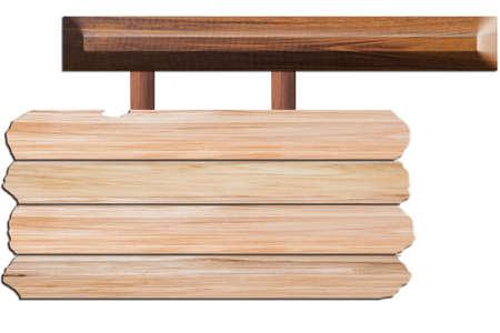 Letrero de madera Fondo blanco Foto de archivo