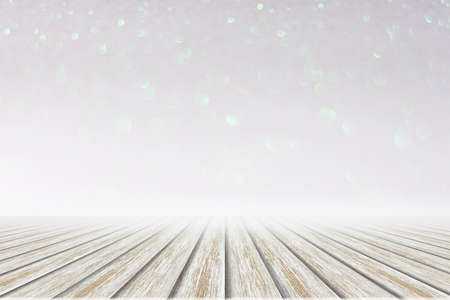 White wood floor pink and white bokeh background