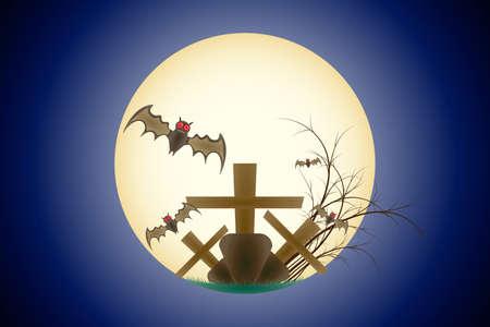 Happy Halloween Grave Bat Flying in the Moon Scene Background Gradient Blue
