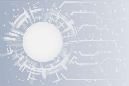 Grey white Abstract technology Circles abstract background