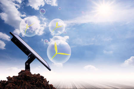 Solar cell energy-saving technology Uses energy from the sun's light In protecting the environment and trees