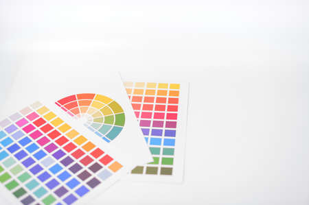 Business color test paper placed on a white scene Stock Photo
