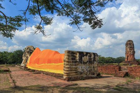 Big reclining buddha,in temple, at Ayutthaya, Thailand, Stock Photo