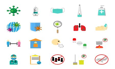 Flat icon about Covid-19 pandemic and how to protect.