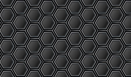 Minimal Hexagonal Black and Gray Pattern Background Vector Vetores