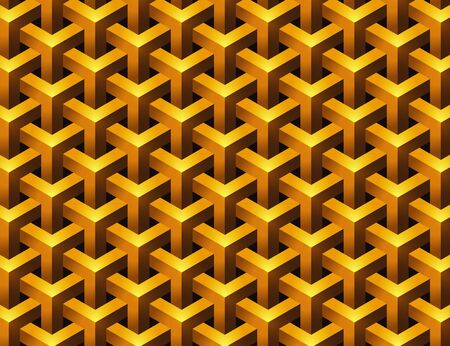 Gold Overlapped Geometric Shape Seamless Pattern Background Vector