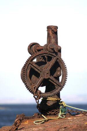 winch: Rusty Iron Winch Stock Photo